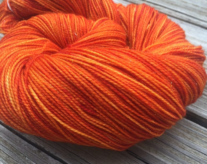 Sparkle Sock Yarn Lusty Wench Hand Dyed Hand Painted Orange sockyarn 438 yards superwash merino nylon stellina fingering swm pumpkin