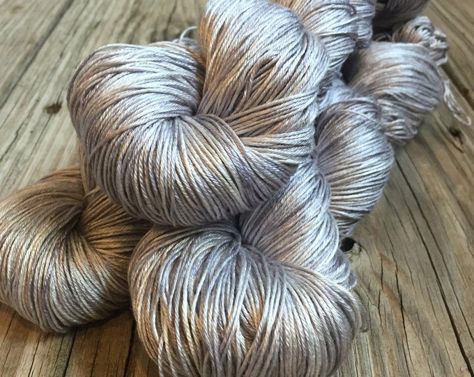 Hand Dyed Pure Silk Fingering Weight Yarn 100% mulberry silk Pieces of Eight Silver Gray Grey sock yarn 436 yards shimmery ready to ship