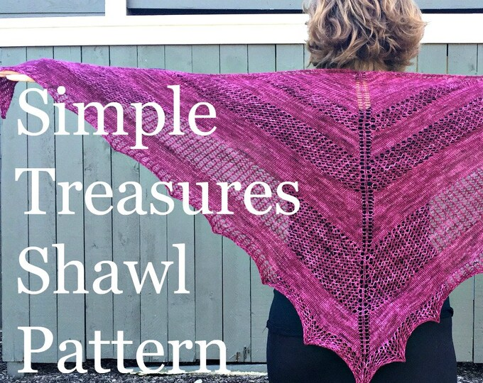 PDF Simple Treasures Lace Shawl Knitting Pattern Sock Yarn Digital Download Fingering Weight sockyarn shawl pattern treasuregoddess
