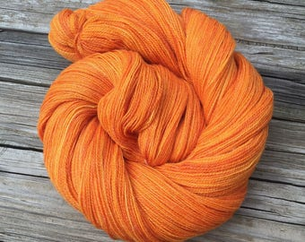 hand dyed lace weight yarn Lusty Wench Bamboo Treasures Lace yarn orange merino bamboo yarn pumpkin tangerine mango 875 yards ready to ship