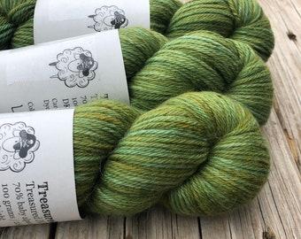 forest green cashmere silk alpaca yarn, Hand Dyed DK Yarn, Landlubber, Treasured DK Luxe