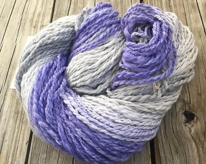 French Lilac Fade Handspun Yarn Bulky 2 ply wool Gradient pale silver to gray to lilac to purple lavender FiberTerian 120 yards