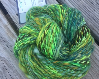 Limelicious Handspun Yarn Bulky 2 ply wool OOAK lime green forest olive gold yellow angelina merino BFL bamboo FiberTerian 120 yards