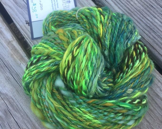Limelicious Handspun Yarn Bulky 2 ply wool OOAK lime green forest olive gold yellow angelina merino BFL bamboo FiberTerian 120 yards