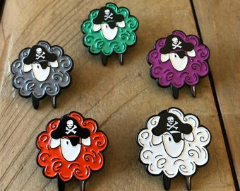 Pirate Sheep Enamel Pin knitters crocheters spinners