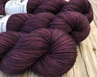 Hand Dyed YAK Sock Yarn, wine magenta, Song of the Sirens, Treasured Yak Toes