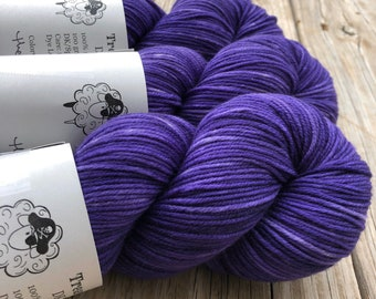 Hand Dyed DK Yarn | Dark Royal Purple Yarn | King's Cloak | DK Treasures | superwash merino wool swm