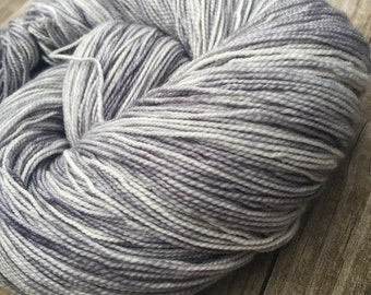 hand dyed sock yarn Silver Gray Shawl Length Super Skein Superwash Merino Cashmere Nylon MCN 600 yards ready to ship yarn grey handdyed