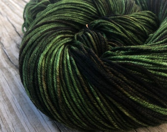 Hand Dyed DK Yarn Seaweed Green Hand Painted yarn 274 yards handdyed dk sport weight Superwash Merino Wool swm brown olive green