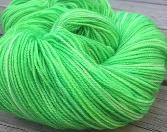 No Scurvy Bag of Limes Hand Dyed Acid Lime Green Sparkle Sock Yarn Hand Painted 463 yards superwash merino nylon ready to ship yarn swm