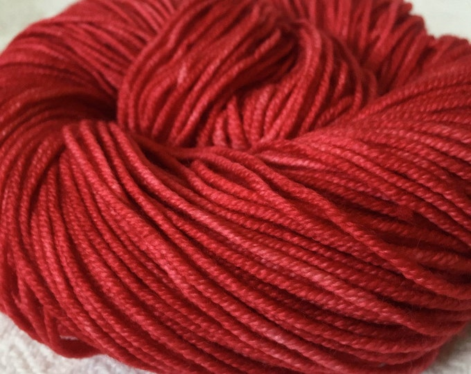 Captain Blood Red Hand Dyed Worsted Weight Yarn Red Rose Crimson Hand Painted yarn 218 yards Superwash Merino Wool