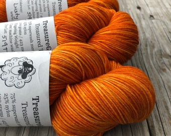 Orange Yarn | Lusty Wench | Treasured Toes Sock Yarn, 75/25 swm/nylon