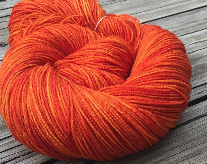 Hand Dyed Sock Yarn Lusty Wench Orange Painted 463 yards superwash merino nylon fingering Treasured Toes pumpkin mango soft ready to ship