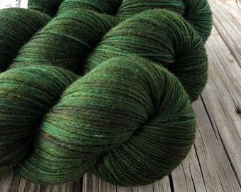 Hand Dyed Sock Yarn, Forest Green, Land Ho! Treasured Toes Sock Yarn