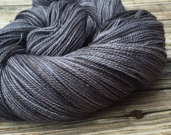 hand dyed lace weight yarn Ghost Ship Charcoal Gray Silk Treasures Lace yarn merino silk 875 yards hand dyed yarn gunpowder black grey
