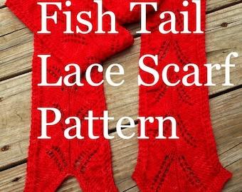 PDF Fish Tail Lace Scarf Knitting Pattern Sock Yarn Digital Download Fingering Weight sockyarn scarf pattern treasuregoddess