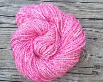 Hand Dyed Bulky Yarn Damsel in Distress bubblegum pink yarn 100% superwash merino wool 106 yards baby pink rose bulky weight yarn swm