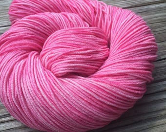 Hand Dyed Pink DK Yarn Damsel In Distress hand painted yarn 274 yards handdyed dk sport superwash merino wool swm bubble gum carnation rose