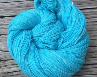 Mermaid's Curse hand dyed lace weight yarn turquoise merino silk yarn Silk Treasures Lace Yarn 875 yards super fine merino teal blue green
