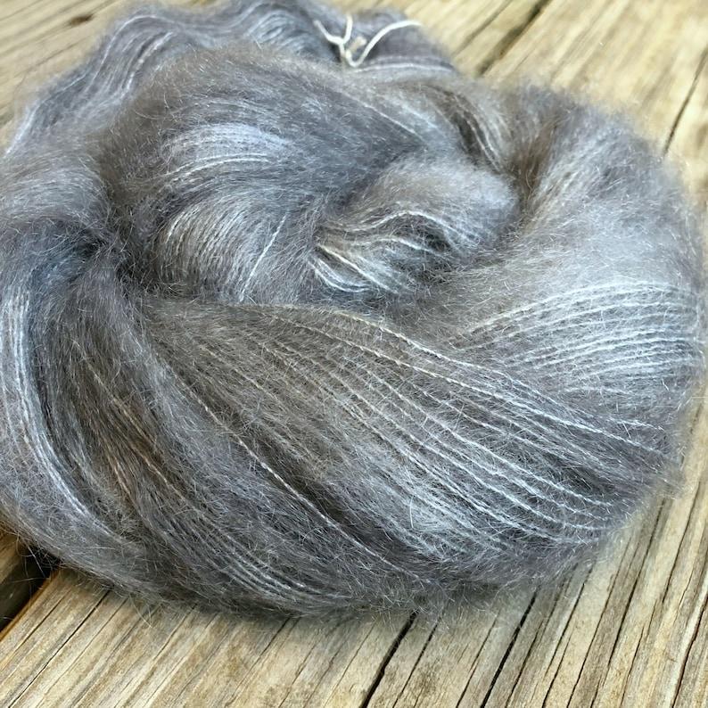 hand dyed kid silk treasures lace yarn brushed kid mohair silk yarn ghost ship gray lace weight yarn