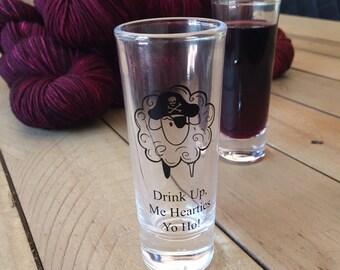 pirate sheep cordial shot glass gift for knitters crocheters weavers 2 oz shot glass YARRRN yarn drink up me hearties yo ho