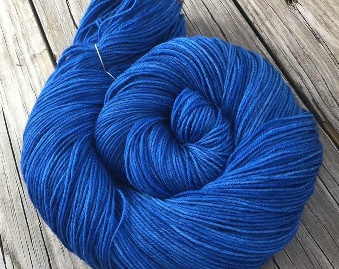 Hand Dyed Sock Weight Yarn Sapphire Blue Sock Yarn Treasured Toes superwash merino 463 yards  fingering semisolid ocean blue royal