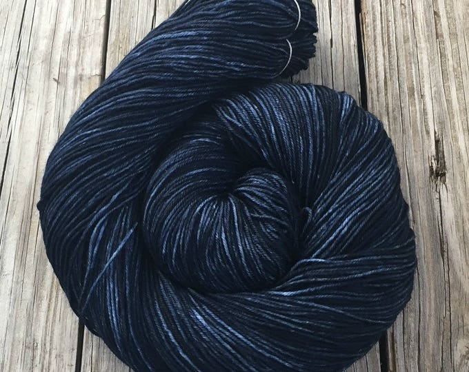 Hand Dyed Sock Yarn Davy Jones' Locker Hand Painted sockyarn 463 yards dark navy blue fingering weight Treasured Toes swm midnight blue