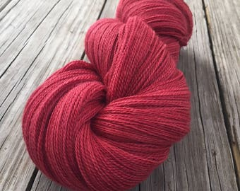 hand dyed lace weight yarn silk yarn Captain Blood red rose brick red yarn merino silk 875 yards hand dyed yarn