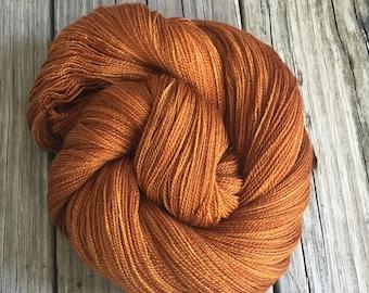 hand dyed lace weight yarn Copper Cove Silk Treasures Lace yarn merino silk 875 yards hand dyed yarn orange rust pumpkin spice warm