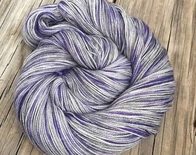 Sparkle Sock Yarn Amethyst Tie Dyed Yarn Hand Dyed Hand Painted 438 yards superwash merino nylon stellina fingering silver lavender purple