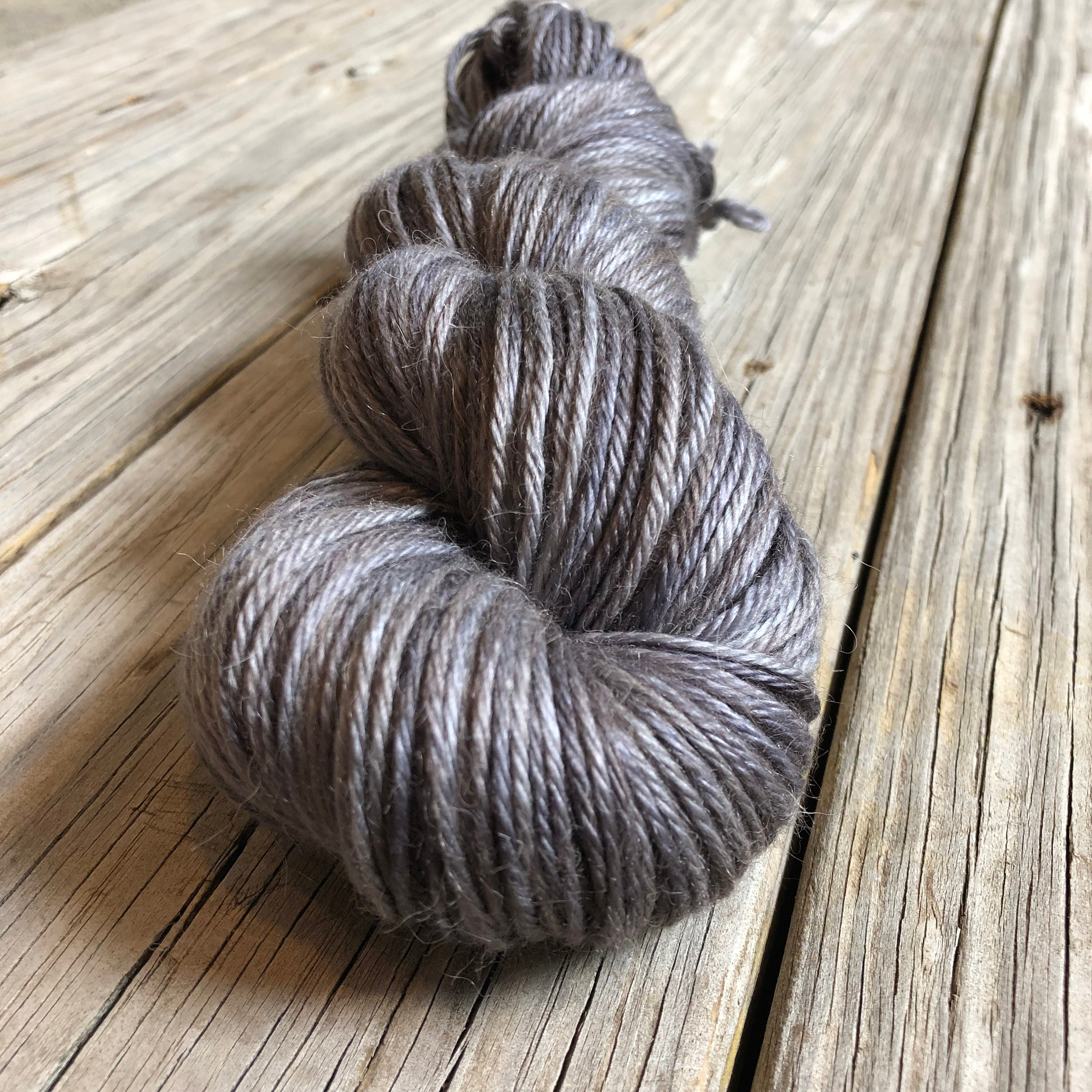Hand Dyed Treasured DK Luxe Yarn Ghost Ship Charcoal