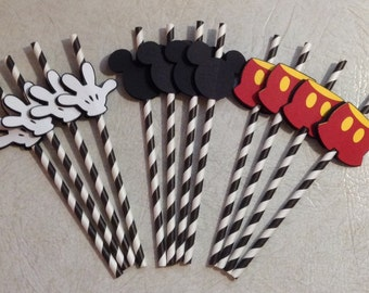 Mickey Mouse themed Straws - Birthday Decorations, Party Supplies