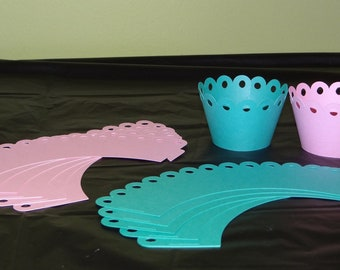 Pink and Teal Cupcake Wrappers - Cupcake Toppers, Cake decorations, Party Supplies