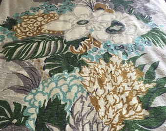 "40s  A Co Fab Co Vat Print ""SAN JUAN""//Luscious  Import//Pongee Floral//Turq/White/Amber Flowers//Charcoal Green Leaves on Silver Ground"