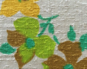 SALE Item - 60s Groovy MCM Abstract Fab//Raw Linen//Delicate Flowers Lime Grn, Butterscotch, Maize Yello, Nat Grnd//OP