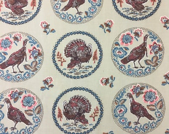 "60's Vintage Cyrus Clark Company ""Turkey Ring""/ MCM Whimsy /Novelty Print /All Cotton Twill"