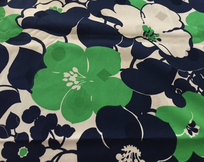 Featured listing image: 50s Woven Damask//Vintage 60s //Lrg Hibiscus, Chrysanthemums POP//Kelly Green and Midnight Blue Flowers On White Ground//Allover//All Cotton