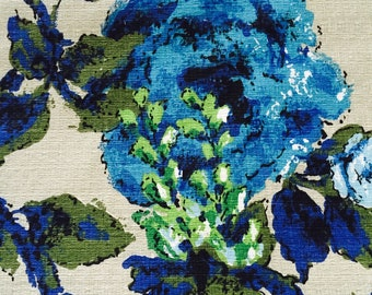 60's Vintage Barkcloth Floral print//Cobalt blue Flowers, Emerald green leaves//All cotton/ Med weight//Light Olive Ground