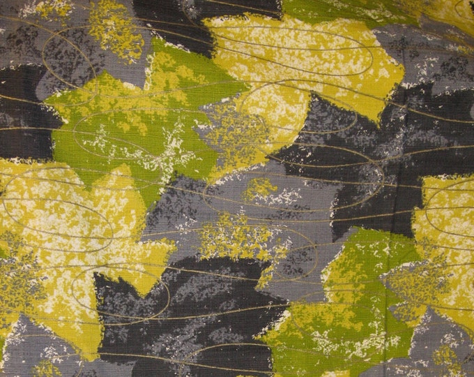 Featured listing image: Allover Abstract Leaf Print 50s Vintage 100% Barkcloth//Vivid Charcoal, Lime Green, Chartreuse and Steel Gry//Brass Swirl Overlay