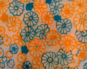 SALE - 1960's Whimsical Batiste/ Tangerine and Teal Floral Cotton Dressmaking Fabric//Off White Ground