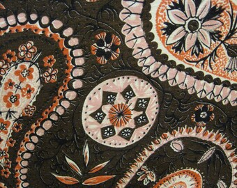 60s Funky, Perky, Pink, Paisley, Abstract// w/Salmon Centers of Flowers & Leaves//Vintage Old Stock//Shantung cotton/rayon