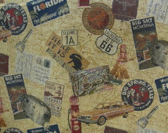 "56 ""Get Your Kicks on Rte 66"" Vint Travel Tapestry// Bambi, FLA, Big Spring, Big Sky, Scenic 1A, CA, TX Patches Red, Blue, Gold, Tan Grnd"