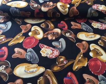 "90's AH Fabrics ""SANTA FE"" //If The Hat Fits Wear It//Western Novelty Print//All Cotton //Wild West Attire//Lush Earth Tones on Blk Grnd"