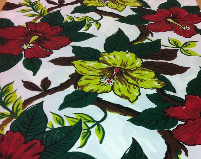 Featured listing image: 40s Stylized Hibiscus Design Gone Wild//MCM Tropical Fabric//Deep Red, Lime, Flowers//Chocolate, Evergreen Leaves on Wht Rayon Faille Ground