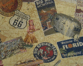 """SaLE -  56 """"Get Your Kicks on Rte 66""""// Vint Woven Fabric, Airstream, FLA, Big Springs, Big Sky, Scenic CA, TX, Red, Blue, Gold, Putty Grnd"""