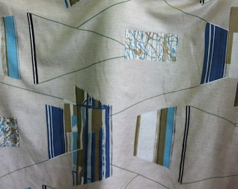"""1957 Mid Century Mod Eames Era//Riverdale Fabric """"TO and FRO"""" Geo Shantung//Hand Blocked Print//Turq, Cobalt Blue, Taupe on Off White Ground"""