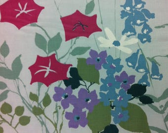"""1969 Cosmopolitan Collection by IT """"BEL AIRE"""" How Does Your Garden Grow //Purple, Blue, Red w/Green Flowers of Every Kind on Baby Blue Grnd"""