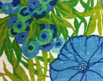 "50's Boris Kroll Fabrics ""SOMERSET""//All Linen//Hand Print//Cobalt Blue, Lime, Olive, Teal, Summer Green Flowers on Natural Ground"