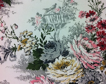 "50s Romantic Tower Print ""Sibley"" Vintage Cabbage Rose Bouquet// Green, Charcoal Leaves//Cobble Cloth//Silver Birds in Nest on White Ground"