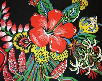 SALE ITEM - 70s Brilliant Hibiscus & Ginger Neon Print//Primal Multi Colors on Black Ground//Cotton Blend/OP